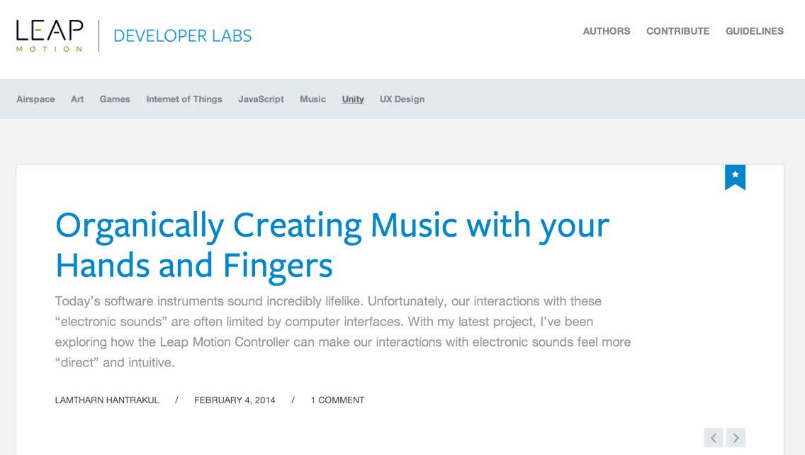 Feature on the Leap Motion Developer Website!